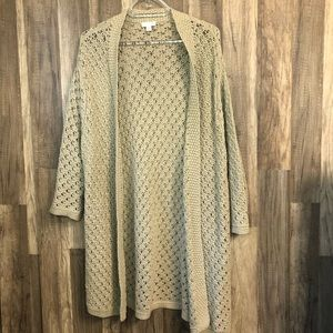 J. Jill Natural Crotchet Knit Open Cardigan M